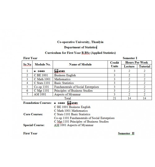 Curriculum for B.BSc (AS)