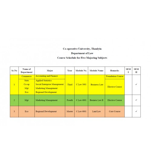 Course Schedule of LAW Dept.