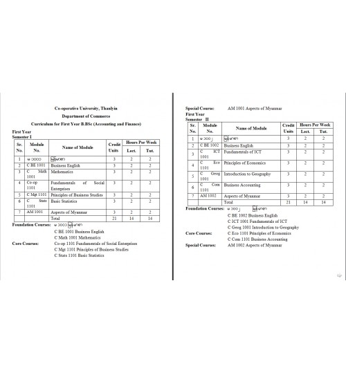 Curriculum for B.BSc (AF)